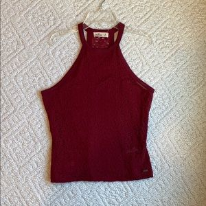 Hollister red lace top